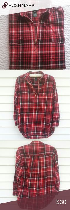 Ralph Lauren Pullover Flannel Shirt Here is a different twist on the basic plaid flannel ! This shirt is a pullover style with a zippered neck. Button cuffs, two front button pockets and rounded hem.  Colors are Red, Black and White.  100% Cotton Wear this with some ripped up skinny jeans and boots. Perfect for Fall ! EUC and worn maybe 3 times.  No Flaws. Measurements laying flat, Bust from pit to pit. 22.5 in.  Length. 28 in Ralph Lauren Tops