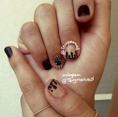 I got my eye on you.fun nails black and nude Fun Nails, Pretty Nails, Bohemian Nails, Cool Nail Designs, Black Nails, Nail Arts, Manicures, Canvases, Claws