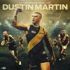 Dustin Martin, 2017 Brownlow Medallist. Congratulations Richmond Afl, Richmond Football Club, Sign Writing, Attractive Men, Rugby, Jeep, Novels, Tigers, Athletes