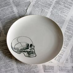 Skull White Altered Vintage Large Plate by geekdetails on Etsy, $25.00
