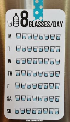 Keep track of your water consumption with this  8 Glasses a Day FREE printable via Clean Mama