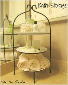 Use A Plate Stand For Extra Bathroom Storage