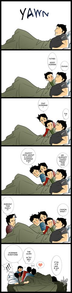 Morning birds by *ile-o on deviantART. This is what Bruce gets for having the largest, most comfy bed in the entire house, everybody snatches a piece x]