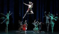 "Daniel Ulbricht (aloft) of New York City Ballet in ""A Midsummer Night's Dream."" Credit Andrea Mohin/The New York Times Lincoln Center Ballet, George Balanchine, City Ballet, Ballet Photos, Midsummer Nights Dream, Ny Times, New York City, Dancer, Dance Pictures"