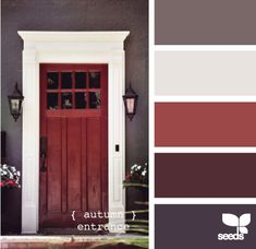 autumn entrance. color scheme for my bedroom? I've already got pretty much that same red..... This is such a cool site!!