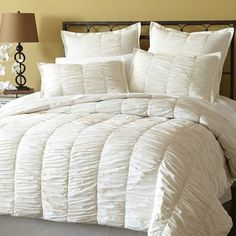 Our ruched ivory bedding brings the purest expression of soft cotton comfort to your bedroom with rows of loosely gathered pleats. We've got you covered—our quilt has lofty fill for fluffy warmth. Complete the look with coordinating shams featuring tie closures on back. The ruche is on.