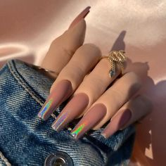 Aycrlic Nails, Glam Nails, Fancy Nails, Trendy Nails, Hair And Nails, Bling Nails, Summer Acrylic Nails, Cute Acrylic Nails, Brown Acrylic Nails