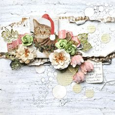 Escape Kitty and Prima take on CSI - Scrapbook.com - Beautiful distressing, flowers and more on this pet layout.