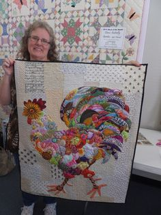 Several years ago I purchased a quilt pattern at the International Quilt Festival for a collage quilt by Laura Heine of Fiberworks. I've never made a collage quilt in my life but absolutely L…Landscaping Without GrassJo Lynn's Rooster! Patchwork Quilting, Applique Quilts, Crazy Quilting, Crazy Patchwork, Art Quilting, Quilt Art, Quilting Projects, Quilting Designs, Embroidery Designs