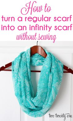 How to turn a regular scarf into an infinity scarf without sewing!  A fast and easy no-sew project!!