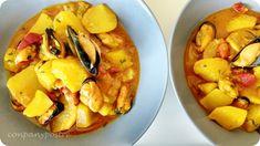 Con pan y postre: Guiso de patatas y mejillones / Potato stew and mu...