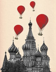 St Basil's Cathedral 14X11 Red Hot Air Balloons Art Print Poster Acrylic Painting Giclee Wall Decor Wall hanging Wall Art Russian print
