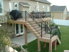 Exterior remodel two story deck design 43 Best ideas Outside Stairs, Outdoor Stairs, Deck Stairs, Stairs Floor Plan, Floor Plans, Second Story Deck, Two Story Deck Ideas, 2 Level Deck Ideas, Exterior Stairs