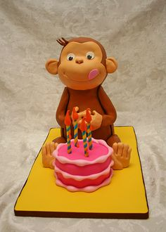 This is what Aaron wants for his birthday cake Curious George Invitations, Curious George Cakes, Curious George Party, Curious George Birthday, Beautiful Cakes, Amazing Cakes, Movie Cakes, Bithday Cake, Cupcake Cakes