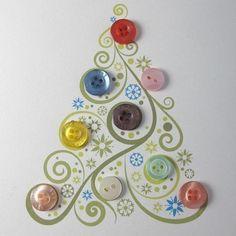 idée intéressante comment fabriquer une carte de noel, dessin d un sapin et boutons multicolores, carte de voeux originale