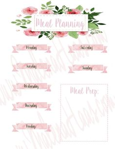 Weekly Meal Planner Insert - Printable for Happy Planner, Bullet Journal and Home Planner, Weekly Meal Planner, Happy Planner, Weekly Meals, Planner Ideas, Printable Planner, Planner Stickers, Printables, Planner Organization