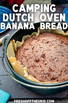 This easy Dutch oven banana bread will be a welcome addition to your camping breakfast menu! It's tender, perfectly sweet, and uses simple ingredients, so it's a snap to make. Dutch Oven Breakfast, Dutch Oven Bread, Dutch Oven Camping, Camping Breakfast, Breakfast Menu, Dutch Ovens, Breakfast Recipes, Camping Desserts, Camping Meals