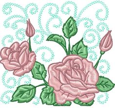 Roses Curly Blocks 10 Machine Embroidery Designs on CD | eBay