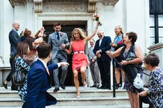The bride in a pink Victoria Beckham dress at Islington Town Hall