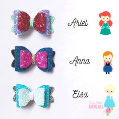 Items similar to Princess inspired bow gift set on Etsy Felt Bows, Ribbon Bows, Homemade Bows, Disney Hair Bows, Felt Headband, Headbands, Bow Template, Bow Earrings, Leather Earrings