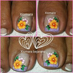 French Pedicure, Pedicure Nail Art, Toe Nail Art, Toe Nails, Flower Pedicure Designs, Toe Nail Designs, Spring Nails, Summer Nails, Ninas Nails