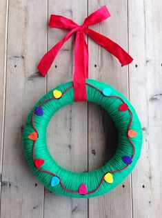 Holiday Christmas Green Yarn Wreath with Felt by TheArtsyBee, $40.00