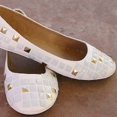 I'm in love with my new white on white + gold studded flats. I'll show you how to make your own with flat back studs!