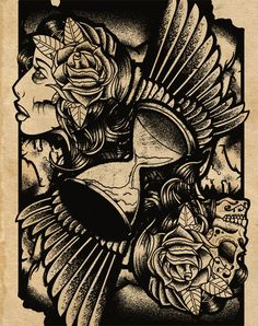 hourglass/wings/gypsy/sugar skull/day of the dead tattoo design