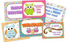 Owl-Themed Classroom Materials Pack: * Alphabet A to Z * 6 Binder Covers * Cute Owl Classroom Jobs Display * Birthday Poster * Birthday Owls and Month Headers * Calendar Title, Month Headers, and 31 Date Squares * Grouping Cards * 7 Name Tag Designs for early and upper elementary * 10 Seasonal Mini-Notes - fall, Halloween, Thanksgiving, Christmas, President's Day, Valentine's Day, spring, Easter, and summer * 6 Postcards - summer message to future students, welcome, star student, happy birthday,