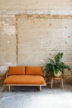 Pop & Scott 'Lovers' Couch in Terracotta linen, 'Bobby Round' Side Table, Nullambor Dip Pot. Styling by Poppy Lane, Photography by Bobby + TIde
