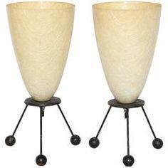 Pair of 1950s Tony Paul Style Cream Fiberglass and Black Wire Lamps