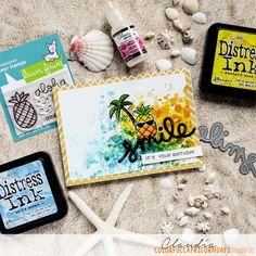 Colorful Capricorndays: Pinapple Smile - Lawnfanatics Challenge No7  lawn fawn aloha scripty smile