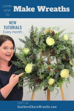 Learn how to make wreaths with Julie and the Wreath of the Month club. Wreath designs and artificial flower arrangements are taught for every season and every holiday.