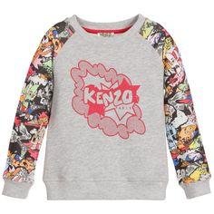 Kenzo Girls Grey  Dancing Cactus  Print Sweatshirt at Childrensalon.com  Kenzo Kids bf4d7ede1