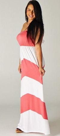 Blondellamy'Dean - Coral and White Maxi Dress 2x, $42 (http://www.blondellamydean.com/coral-and-white-maxi-dress-2x/)
