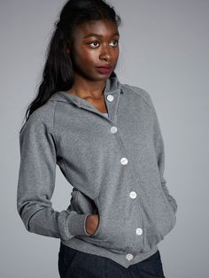 BUTTON UP HOODED SWEATSHIRT / Get it here: bit.ly/12nM32P / Or ask your local dealer: bit.ly/YEdgde Hooded Sweatshirts, Button Up, Pullover, Sweaters, How To Wear, Clothes, Women, Style, Fashion