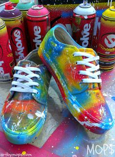 Custom vans from etsy Shoe Art, Rainbow Vans, Spray Paint Shoes, Vans Custom Shoes, Awesome Shoes, Cute Shoes, Me Too Shoes, Pretty Shoes, Awesome Stuff