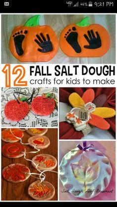 Fall salt dough ornaments and craft ideas for kids to make! (Find pumpkins leav Fall salt dough ornaments and craft ideas for kids to make! (Find pumpkins leaves apples turkeys and more! Autumn Crafts, Crafts For Kids To Make, Holiday Crafts, Holiday Fun, Art For Kids, Projects For Kids, Baby Fall Crafts, Fall Paper Crafts, Fall Projects