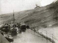 English war ships in a storm, 1915.