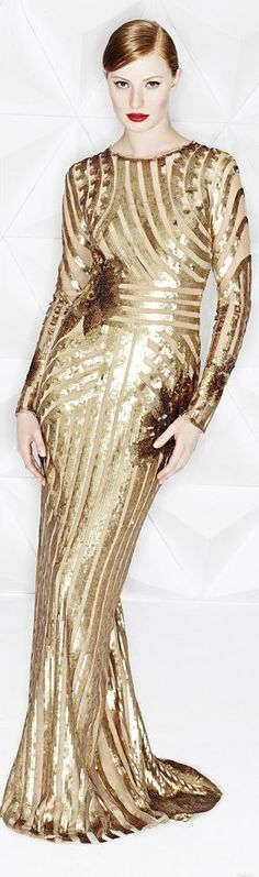Gold evening dress / gown Escada Resort 2015