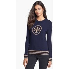 Tory Burch 'Judith' Sweater Medium Navy/ Antique Gold Small. An intarsia-knit Tory Burch logo offers trendy detail to a fitted crewneck sweater finished with str......[$295.00]
