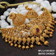 Ruby Stones Peacock, Flowers & Mango Design With Balls Drops Mat Finish Choker Necklace Set Buy Online Bridal Jewelry, Silver Jewelry, Fine Jewelry, Jewellery Box, Jewellery Exhibition, Jewellery Shops, Indian Jewelry, Jewelry Stores, Jewelry Sets