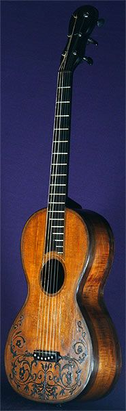 Early Musical Instruments, antique Romantic Guitar by Gennaro Fabricatore dated 1828