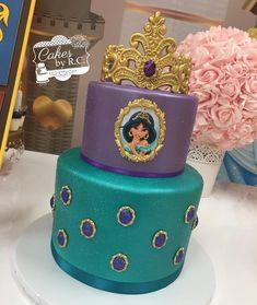 Jasmine inspired cake made for Giuliana's birthday celebration. Jasmine Birthday Cake, Aladdin Birthday Party, Aladdin Party, Birthday Celebration, 5th Birthday, Birthday Ideas, Princess Jasmine Cake, Disney Princess Party, Princess Birthday