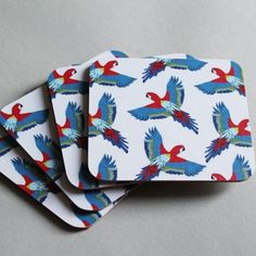 Martha And Hepsie Parrot Coasters - Set of 4