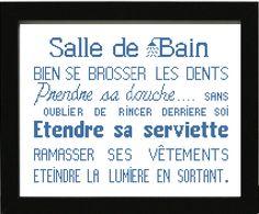 Grille gratuite de point de croix : Affiche « Salle de bain »