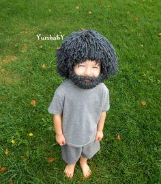 Wig Beard Hat- Halloween Costume- Any Color- Hobo- Mad Scientist- Rasta- Caveman- Boys Halloween Costume