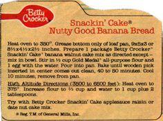 Betty Crocker's Snackin' Cake Banana Bread Recipe Clipping