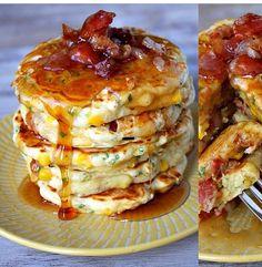 Amazing pancakes!!! Scallions bacon corn syrup!!! Yum