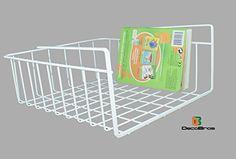 DecoBros Under Shelf Basket Wrap Rack, White